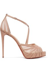 Christian Louboutin Filamenta 120 Leather And Mesh Sandals Beige