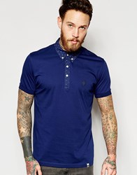 Pretty Green Polo Shirt With Printed Collar In Navy Navy