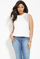 Forever 21 Plus Size Crocheted Slub Knit Top White