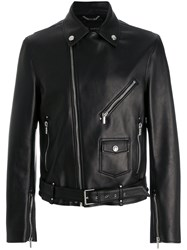 Versace Leather Biker Jacket Men Lamb Skin Cupro 46 Black