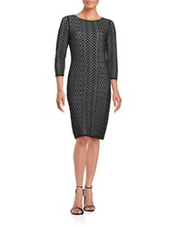 Calvin Klein Pointelle Sweater Dress Black Winter White