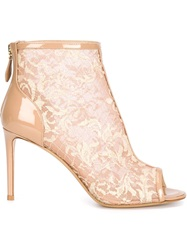 Nicholas Kirkwood Floral Embroidered Booties Nude And Neutrals