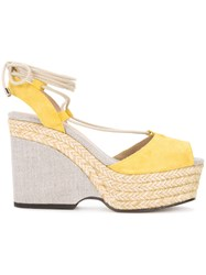 Castaner Raffia Braided Sandals Women Raffia Suede Rubber 39 Yellow Orange