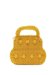 Shrimps August Faux Pearl Top Handle Bag Yellow
