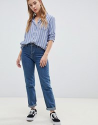 Lee Mom Straight Jeans Dark Stonewash Blue