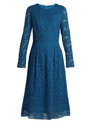 Adam By Adam Lippes Long Sleeved Guipure Lace Cotton Blend Dress Blue