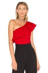 Susana Monaco One Shoulder Ruffle Top Red