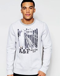 Abercrombie And Fitch Sweatshirt With Nyc Print Cc112 Grey