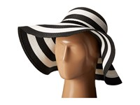 Vince Camuto Wide Stripe And Rope Floppy Hat Black Caps