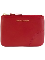 Comme Des Garcons Wallet Logo Stamp Zip Wallet Women Calf Leather One Size Red