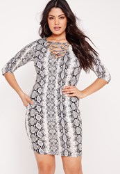 Missguided Plus Size Snake Effect Lace Up Mini Dress Grey Multi