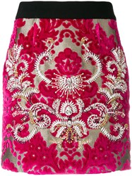 Fausto Puglisi Damask Embellished Skirt Silk Cotton Polyester Glass Pink Purple