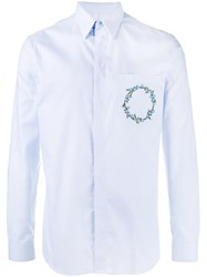 Givenchy Floral Crown Embroidered Shirt Blue