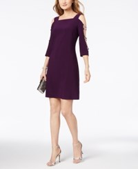 Msk Embellished Cold Shoulder Cocktail Dress Luxe Plum