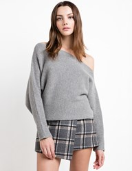Pixie Market Crop One Shoulder Grey Sweater By J.O.A