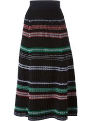 Kenzo Striped Midi Skirt Black
