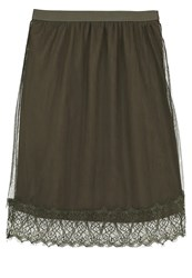Cream Meshsina Aline Skirt Army Green
