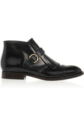 Marc Jacobs Monk Strap Glossed Leather Ankle Boots Black