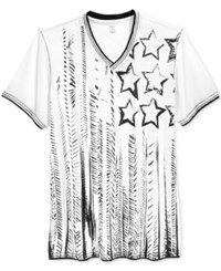 Inc International Concepts Men's Artistic Flag Graphic Print V Neck T Shirt Only At Macy's