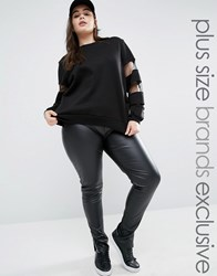 Daisy Street Plus Wet Look Biker Leggings With Cuff Detail Black
