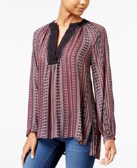 Jessica Simpson Calista Printed High Low Tunic Linear Aztec