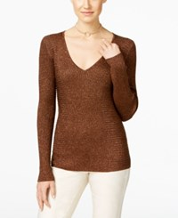 Inc International Concepts Ribbed V Neck Sweater Only At Macy's Bronze