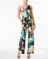 Ny Collection Petite Printed Surplice Belted Jumpsuit Bloom Paradox