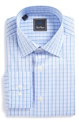 David Donahue Men's Big And Tall Regular Fit Check Dress Shirt Sky Blue