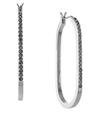 Louise Et Cie Silvertone Pave Oval Hoops