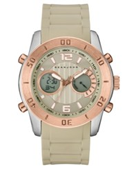 Sean John Men's Analog Digital Concord Beige Silicone Strap Watch 47Mm