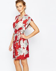 Closet Square Sleeve Midi Dress With Tie At Side In Allover Floral Multi