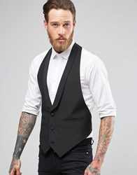 Asos Slim Fit Waistcoat With Shawl Collar Black