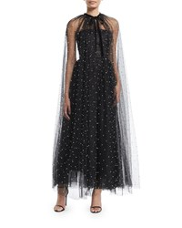 Monique Lhuillier Pearl Embellished Gathered Tulle Cape W Velvet Tie Noir