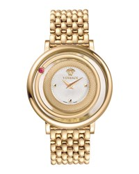 Versace Venus Round Bracelet Watch W Floating Red Topaz Golden