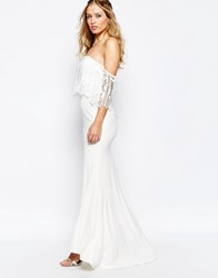 Jarlo Off Shoulder Lace Dress With Fishtail White