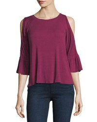 Casual Couture Cold Shoulder Bell Sleeve Top Purple