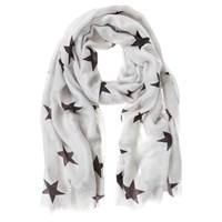 Mint Velvet Star Print Scarf Granite Multi