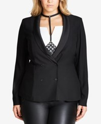 City Chic Trendy Plus Size Double Breasted Blazer Black