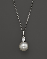 Bloomingdale's Cultured Freshwater Pearl And Diamond Pendant Necklace In 18K White Gold 18