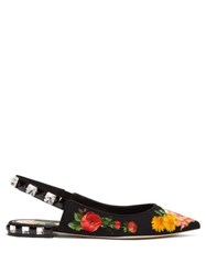 Dolce And Gabbana Crystal Embellished Floral Print Twill Flats Black Multi
