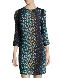 Maggy London Feather Print 3 4 Sleeve Dress Soft White Purple