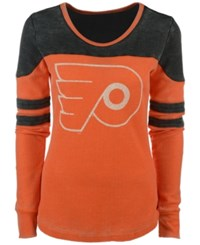 G3 Sports Women's Philadelphia Flyers Hat Trick Thermal Long Sleeve T Shirt Orange Darkgray