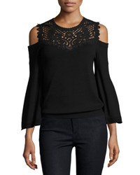 Kobi Halperin Selena Cold Shoulder Lace Yoke Merino Sweater Black