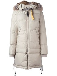 Parajumpers Collar Detail Long Puffer Jacket Nude And Neutrals