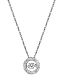 Twinkling Diamond Star Diamond Circle Pendant Necklace In 10K Yellow Or White Gold 1 4 Ct. T.W.