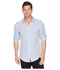 Perry Ellis Slim Fit Solid Linen Roll Sleeve Shirt Colony Blue Clothing