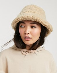 Monki Teddy Fur Bucket Hat In Beige