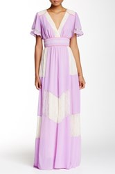 Champagne And Strawberry Lace Trim Maxi Dress Pink