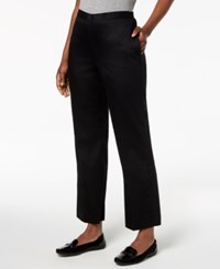 Alfred Dunner Petite Upper East Side Pull On Straight Leg Pants Black