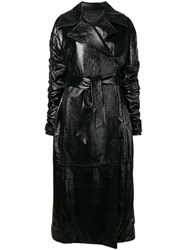 Drome Belted Long Trench Coat Black